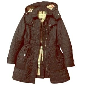 Burberry Navy Blue Dancourt Quilted Hooded Jacket